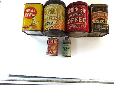 Lot Of 5 Rare Antique Vintage Tins Coffee , Medical , Baking Very Nice Lot