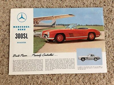 1960s mercedes-benz 300-SL Roadster,  original factory printed sales handout.