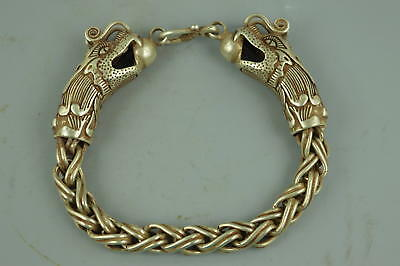 Collectible China Culture Tibet Silver Carve Twine Dragon Rare Man Bracelet Gift