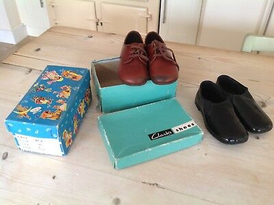Vintage shoes,boys clarks kids shoes boxed,patant dancing shoes boxed.2 pairs.
