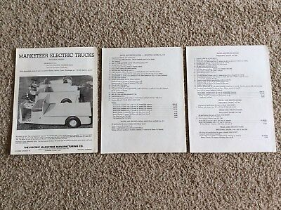 1960s marketeer electric trucks, original factory printed sales information.