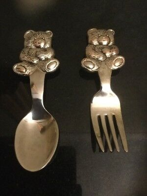 Silver Plated Teddy Bear Handle Baby Fork And Spoon