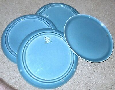 """4 RUSSEL WRIGHT China AMERICAN MODERN TEAL-BLUE Dinner Plates - 10"""""""
