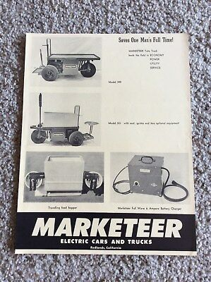 1960s Marketeer electric cars and trucks,  original factory printed sales inform