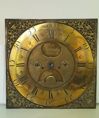 "18th Century 11"" Brass Grandfather Clock Dial - John Boot, Sutton in Ashfield"