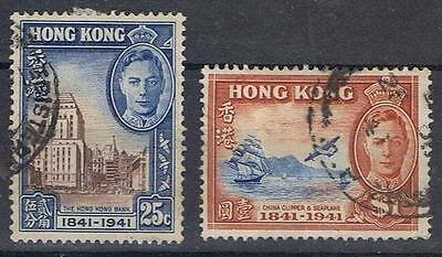 Hong Kong 1941 Centenary High Values 25 cent and One Dollar  SG 167-68 Used