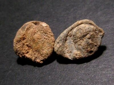 Lot Of Two Roman Period Lead Seals, Emperor'S Head, As Found In The Soil+++