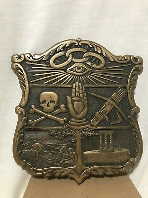 Rare Independent Order Of The Odd Fellows Cast Brass Shield Lodge Plaque Sign