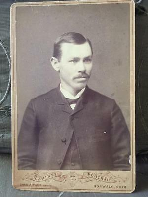 Antique Cabinet Card Photo Handsome Young Man Norwalk Ohio