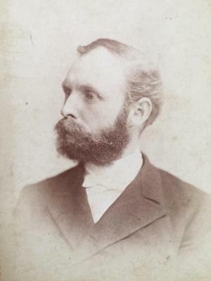 Antique Cabinet Card Photo Handsome Bearded Man New York City Fred Stanley