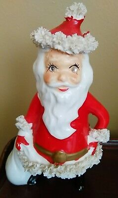 Vintage Christmas Kreiss Santa Claus Jeweled Eye Spaghetti Trim Figurine JAPAN