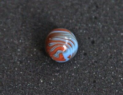 Vintage Christensen Agate Co. Flame Marble orange on blue very good condition