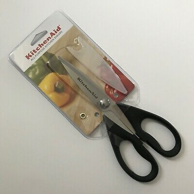 KitchenAid ALL PURPOSE KITCHEN SHEARS NEW! BLACK GRIP STAINLESS STEEL BLADES A53