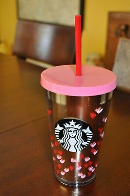 Starbucks 2017 Red Pink Hearts Travel Tumbler COLD CUP 16 oz RARE