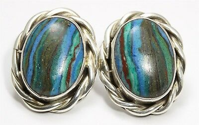 Navajo A. MARTINEZ Sterling Silver Oval Rainbow Calsilica Wire Post Earrings
