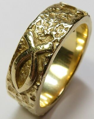 Mens JAMES AVERY 14K GOLD Size 12.75 Wedding Band Ring Ichthys 16.2 Grams 18912x