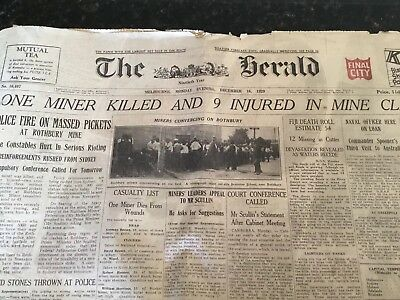 Old Newspaper - THE HERALD (Melbourne) Dec 16th 1929 - Full Paper 26pgs