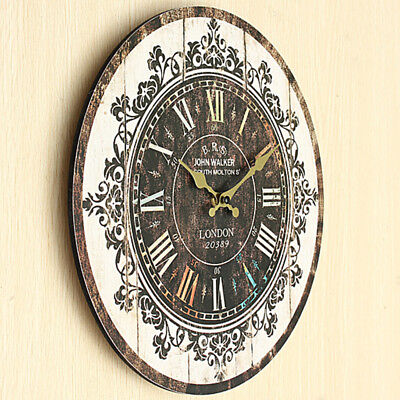 2018 Round Wooden Wall Clock Vintage Retro Antique Battery Operated