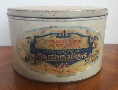 Vintage Marshmallow Silver Fluffs 5lb Advertising Tin Store Chicago Paper Label