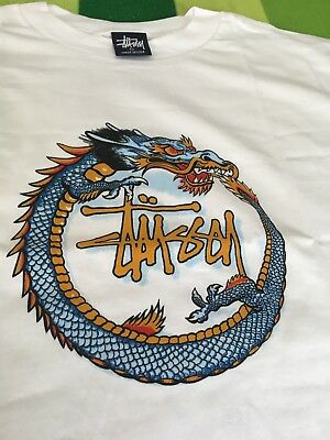 Deadstock Vintage 90's Stussy Tee T-Shirt Made USA Medium Single Stitch Dragon