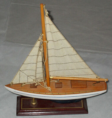 """Vintage Wooden Sailboat Navy Blue White 14"""" On Stand - Sailing Boating Nautical"""