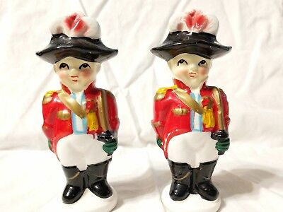VERY RARE! JAPAN 1940's ADORABLE COLONIAL SOLDIER BOY SALT & PEPPER SHAKERS