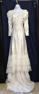 White Vintage High Neck Wedding Dress Boho Bridal Gown Long Train Long Sleeve 6