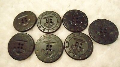 "6 WWI 13 STAR 1 3/8"" US Navy PEACOAT BUTTONS Blk Anchor/Rope 1 MARKED AHR Co"