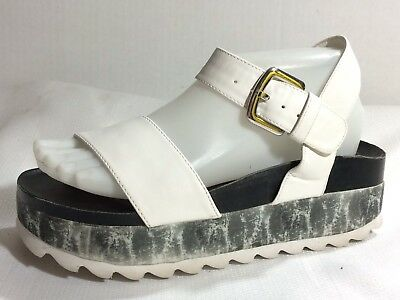 bd11b11586b1 MARK AVON Womens 7 M Chunky Platform Ankle Strap Sandals White Black Casual  Shoe