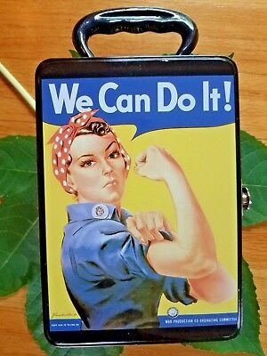 Rosie The Riveter We Can Do It Tin Lunch Box Case Purse Women 1999 EUC