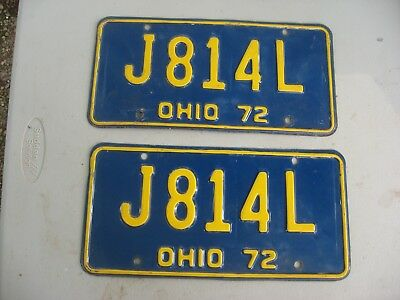 1972 Ohio License Plate J 814 L Yellow On Blue  Pair Vintage Nr