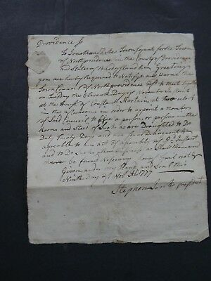 1777 American Revolutionary War Military Document Having To Do With The Draft