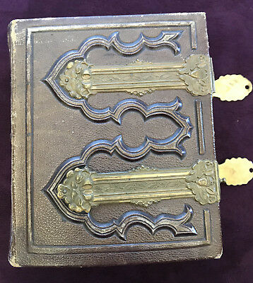 Antique Victorian Leather & Brass Embossed Photo Album With 50 Family Portraits