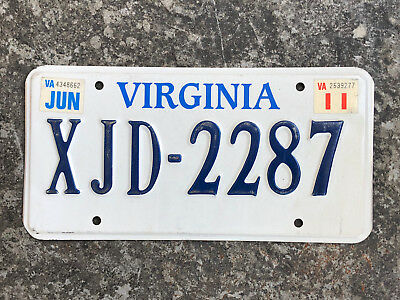 2011 Virginia License Plate #XJD-2287 SAME DAY SHIPPING
