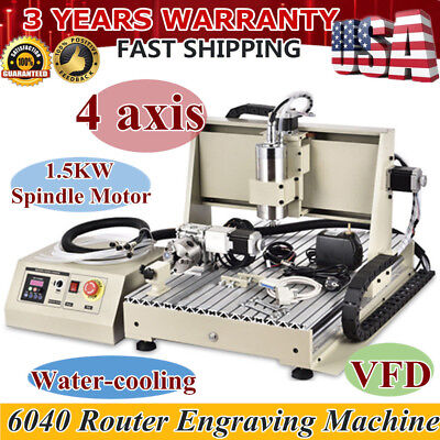 USA !4 axis 6040 cnc router 1500W engraver engraving milling machine 3D CUTTER