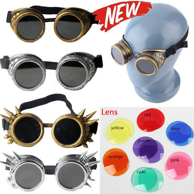 Retro Steampunk Goggles Glasses ABS Plastic Frame Welding Cyber Punk Cosplay US