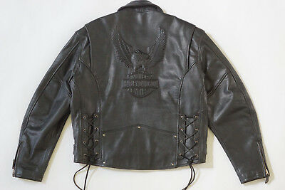 Harley Davidson Mens Vintage Cruiser Embossed Eagle Metal Badge Leather Jacket L