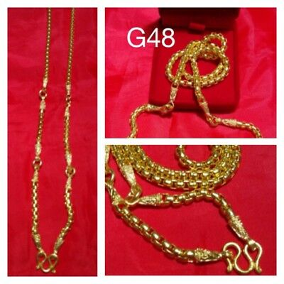 Big Brass Necklace 5 Hooks for 5 Pendants 31 Inches Length & Box Thai Amulet G48