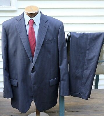 Recent Brooks Brothers Madison Navy Blue Stripe Suit 48L 42W USA Clean