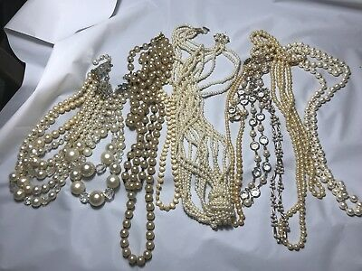 Vintage Collection of Pearl Like Necklaces Lot of 10