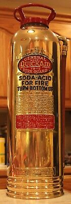 "Antique Vintage ""Quick Aid Fire Guard"" Brass Fire Extinguisher Polished Restored"