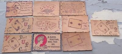 Antique Vtg Collection of Leather Postcards Lot #9 Playing Cards Women Gambling