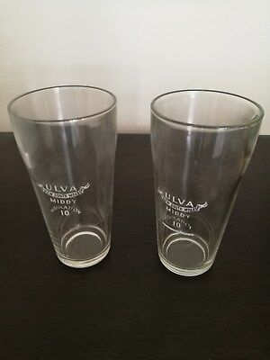 Two Vintage Ulva New South Wales Regulation 10 Middy Beer Glasses