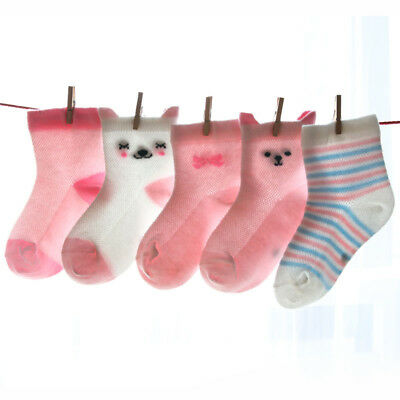 5 Pairs Baby Boys Girls Cartoon Cotton Socks Newborn Infant Toddler Soft Socks