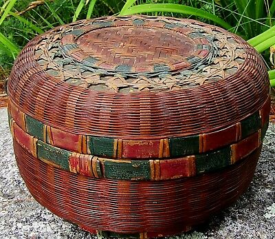 Antique Woven Bamboo Sewing Basket Old Red & Green Paint