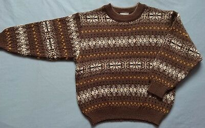 Vintage Marquise Boys Size 5 Knitted Wool Jumper Brown Brand New