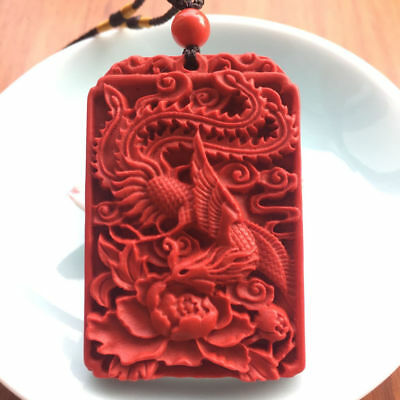 Natural red cinnabar pendant, fashion red pendant pendant for men and women
