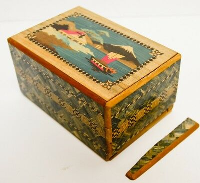 #2 AS-IS Vintage Japanese Inlaid Wood Puzzle Box Mt Fuji Westies Scotty Dogs