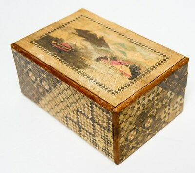#1 Vintage Japanese Inlaid Wood Puzzle Box Mt Fuji and Butterfly
