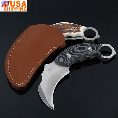 Hunting Knife Claw Blade Stainless Steel /Sheath Survival Tool Outdoor Tactical